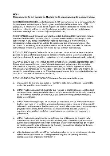 M081 Reconocimiento del avance de Quebec en la ... - IUCN Portals