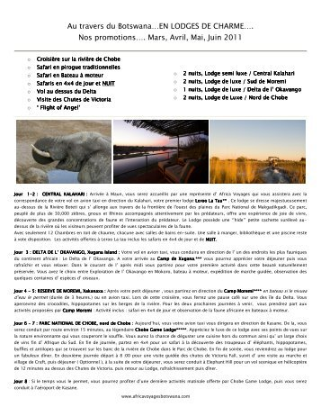 Nos promotions…. Mars, Avril, Mai, Juin 2011 - Africa Voyages ...