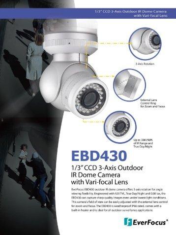 "1/3"" CCD 3-Axis Outdoor IR Dome Camera with Vari ... - EverFocus"