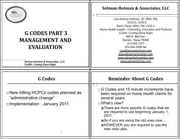 g codes part 3 management and evaluation - Selman-Holman ...