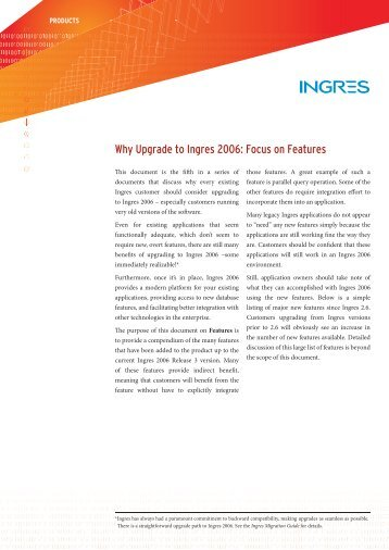 Why Upgrade to Ingres 2006: Focus on Features - Actian