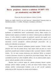 Burza projektov ústavov a oddelení FCHPT STU pre akademický rok ...