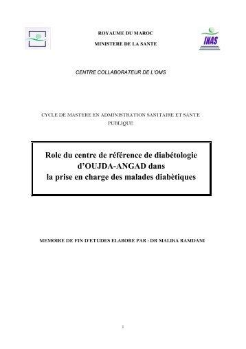 Role du centre de référence de diabétologie d'OUJDA-ANGAD dans ...