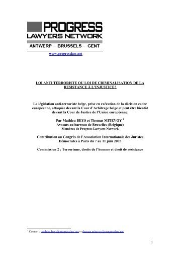 LOI ANTI TERRORISTE OU LOI DE CRIMINALISATION DE LA ...