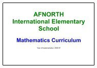 Mathematics - AFNORTH International School