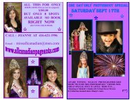 Saturday Sept 17th - Miss All Canadian Pageants