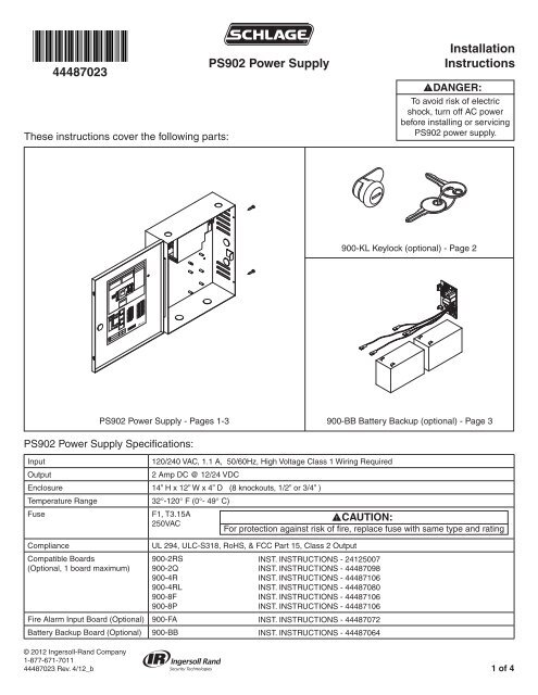 PS902 Power Supply Installation Instructions - Ingersoll Rand ... | Ps902 Power Supply Wiring Diagram |  | www.yumpu.com