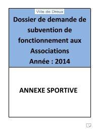 Formulaire annexe pour les associations sportives - Dreux.com