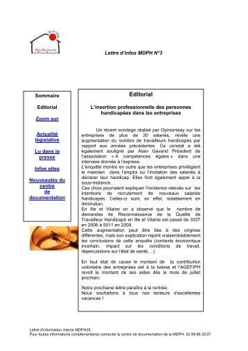 La Lettre d'information MDPH - CISS Bretagne