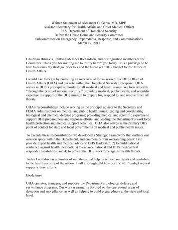 DRAFT Testimony of Alexander Garza, MD, MPH - The House ...