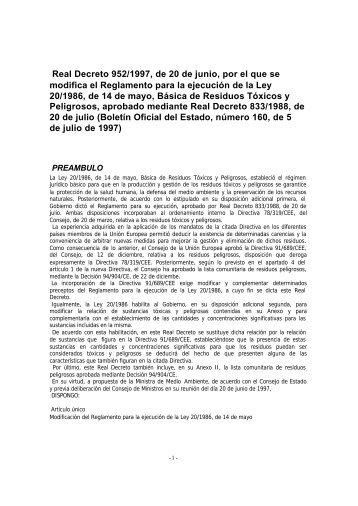 Real Decreto 952/1997, de 20 de junio - Tecnoresiduos-R3