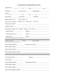 High Risk Clinic New Patient Forms - St. John Health System