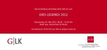 DIES LEGENDI 2012 - Johannes Gutenberg-Universität Mainz