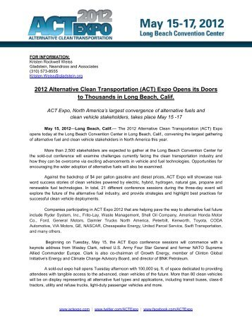 2012 Alternative Clean Transportation (ACT) - Low Carbon Fuels ...