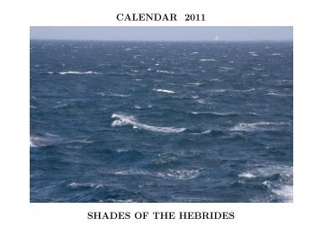 CALENDAR 2011 SHADES OF THE HEBRIDES - Alistair J Bray