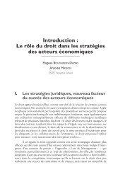 Introduction : Le rôle du droit dans les stratégies ... - Editions Larcier