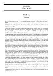 easyJet plc fleet plans presentation & call transcript 18 june 2013