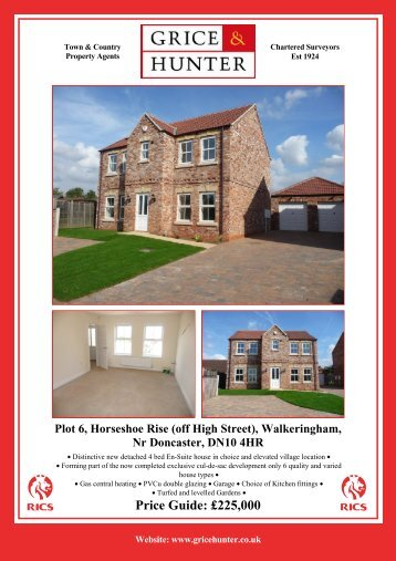 Price Guide: £225000 Plot 6, Horseshoe Rise (off ... - Grice & Hunter