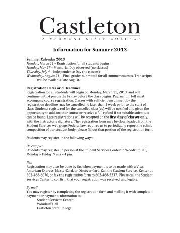 Information for Summer 2013 - Castleton State College