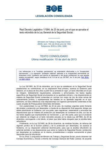 Real Decreto Legislativo 1/1994, de 20 de junio, por el que ... - BOE.es