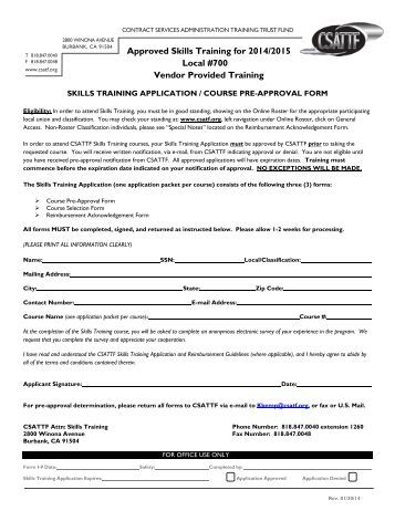 Approved Skills Training for 2013/2014 Local #700 Vendor ... - csatf