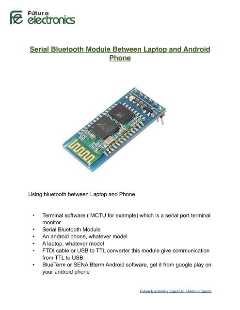 Serial Bluetooth Module Between Laptop and     - Arduino Egypt