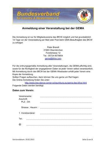 Anmeldung einer Veranstaltung bei der GEMA - BfCW