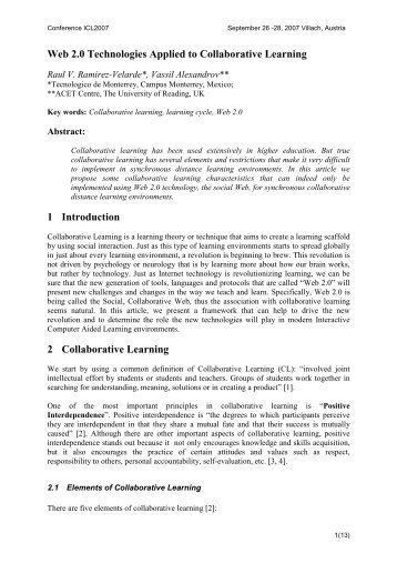 Web 2.0 Technologies Applied to Collaborative Learning 1 ... - ICL