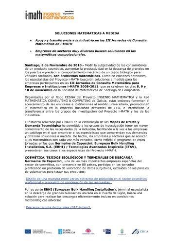 SOLUCIONES MATEMATICAS A MEDIDA PARA EMPRESAS - Cesga