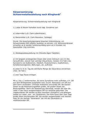 Schwermetallausleitung nach Klinghardt - Wasserkultur