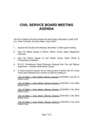 CIVIL SERVICE BOARD MEETING AGENDA - City of Dallas