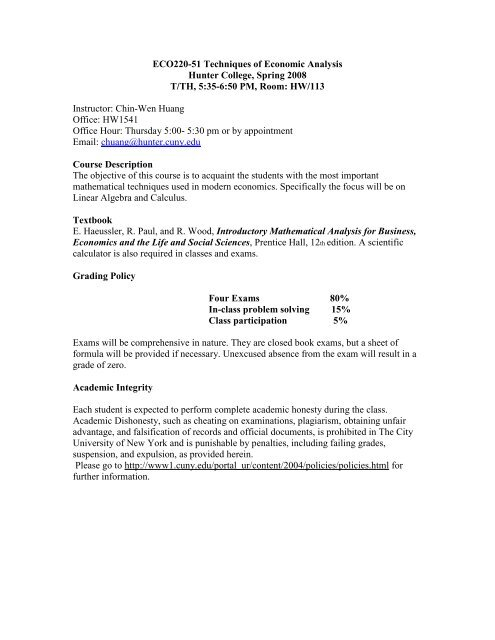 syllabus - Economics and Accounting at Hunter College - CUNY