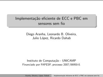 Implementação eficiente de ECC e PBC em sensores sem fio