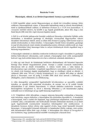 Ruzsicska Yvette Házasságok válások és az élettársi kapcsolatok ...