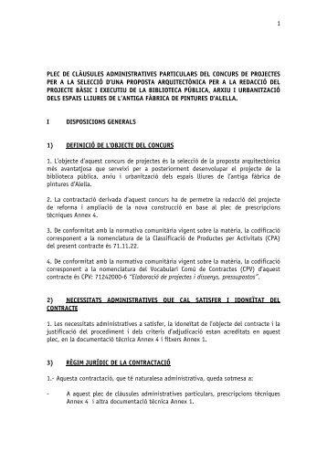 Plec de clàusules administratives - Ajuntament d'Alella
