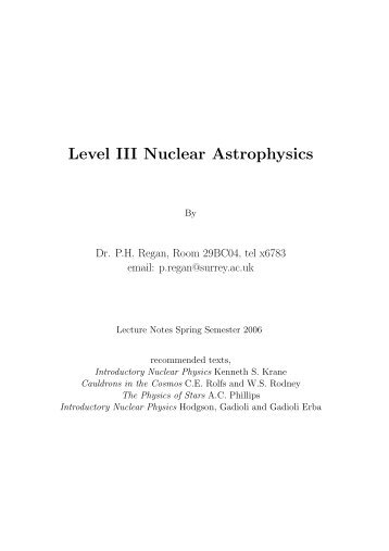 Level III Nuclear Astrophysics