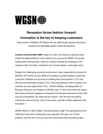 Recession forces fashion forward: Innovation is the key ... - WGSN.com