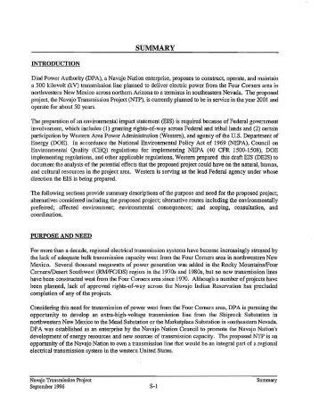 Navajo Transmission Project Draft Environmental Impact Statement ...