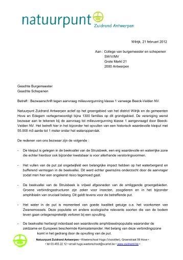 Wilrijk, 21 februari 2012 Aan : College van burgemeester ... - Zuidrand