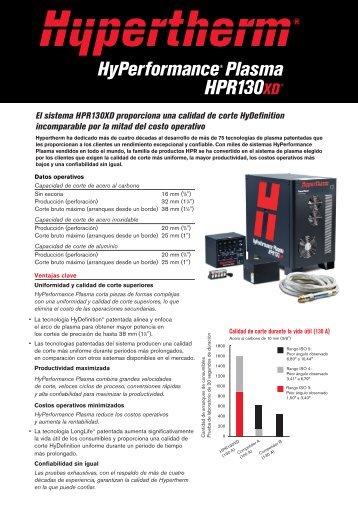 El sistema HPR130XD proporciona una calidad de corte ...