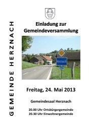 Einladung zur Gemeindeversammlung vom 24. Mai 2013