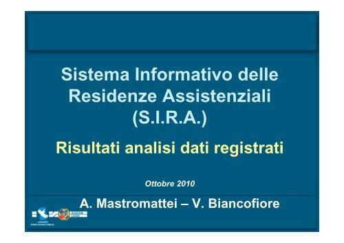 SIRA - Agenzia di Sanità Pubblica della Regione Lazio