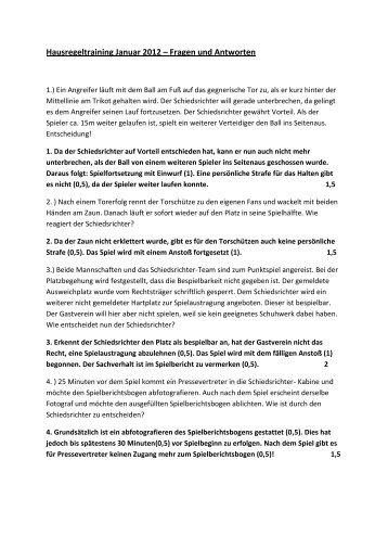 Hausregeltraining Januar 2012 – Fragen und Antworten