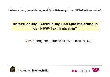 """Untersuchung """"Ausbildung und Qualifizierung in der NRW ... - ZiTex"""