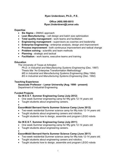 Ryan Underdown - College of Engineering - Lamar University