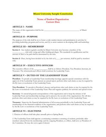 sample student publication constitution and by laws School governance council: outline of sample bylaws student members (2) for a high school council shall be elected by the school's student body 11103.