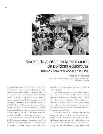Niveles de análisis en la evaluación de políticas educativas
