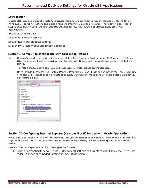 Recommended Desktop Settings for Oracle eBS Applications - SDSU