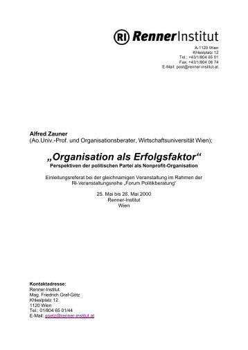 """Organisation als Erfolgsfaktor"" - s3plus.info"
