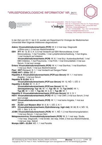 Diagnostizierte Infektionen - Virologie Wien